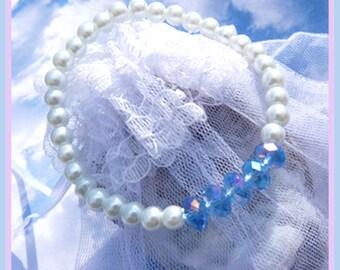 Blue Swarovski Crystals- Pearl- Bracelet -Gift  U 5342