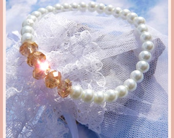 Swarovski Champagne Crystals and Pearls- Bracelet- Gift Idea  U5344
