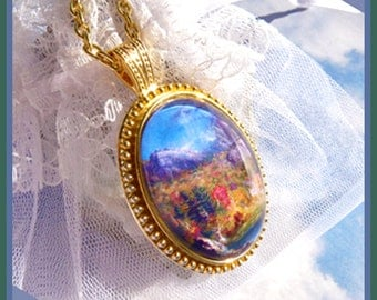 Beautiful Mountain Stream Scene- Necklace  U 5393