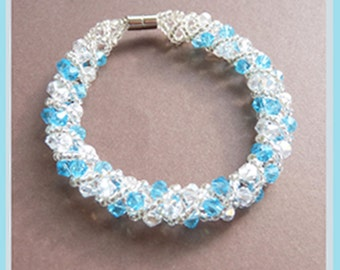 Beadwoven Blue Crystals -Bracelet  U 5591