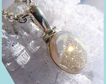 Si Opal Opalescent Sparkling Druzy- Necklace  U 5643