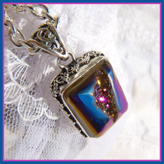 Vibrant Sparkle Of Many Colors - Titanium Druzy - Necklace  B 6300