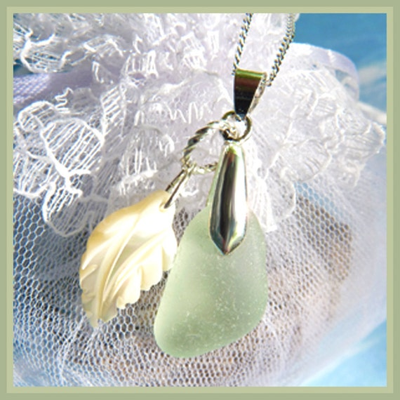 Island Sea Glass - Carved Leaf Shell - Necklace  C 7085