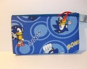 Sonic the Hedgehog  Fabric Zipper  Clutch / Pouch  Handmade Sanrio-- Pencil Pouch, Gadget Pouch Sega