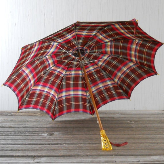 Umbrella Plaid Vintage Spring Umbrella with Yellow Handle