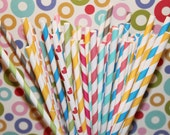 50 Paper Straws with Printable Flags - YOU PICK your COLORS and Design - Stripes, Dots, Party, Wedding, Birthday, Baby Shower