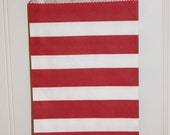 Paper Bag, 24 Red Sailor Stripe Party Favor Bags, Treat Bag, Carnival, Party, Christmas Party, Dr. Seuss parties, Weddings, Packaging, Candy