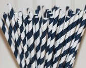 200 NAVY Striped Paper Straws with Printable Paper Flags - Wedding - Dinner Parties - Birthday - Made In USA