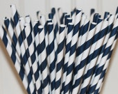 Paper Straws, 25 Navy Striped Paper Straws with Diy Flags, Nautical, Cruise Ship parties, Paper Party Straws