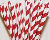 Red Striped Straws, 25 Red Stripe Paper Drinking Straws with Diy Flags, Memorial Day, Fourth of July, Carnival, Weddings,
