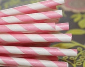 75 Paper Straws - PINK STRIPE Paper Straws with  Printable Paper Flags, Birthday, Party, Baby Shower