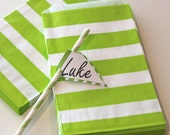 Paper Bags, 24 Lime Green Sailor Striped Favor Bags, Paper Treat Bags, Wedding Favor Bags, Candy Bags, Cookie Bag, Holiday Party Treat Bags