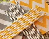 Paper Straw, Party Straw Assortment , 30 Yellow and Grey Striped Paper Straws, Drinking Straws, Party, Wedding,Formals, Business, Graduation