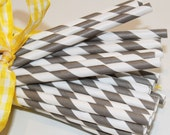 Paper Straws - 50 PEWTER GREY Striped Paper with Printable Straw Flags - Wedding, Graduation, Anniversary, Party