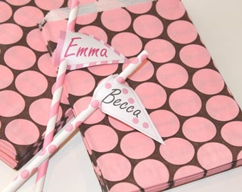 Favor Bags, Paper Bags, 24 PINK & BROWN Polka Dot Favor Bags, Treat Bags, Candy Bag, Pink Paper Bag, Brown Paper Bag, Party Favors, Cowgirl
