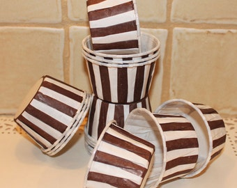 CupcakeCups, 20 Brown Stripe Cupcake Liners, Candy Cups, Wedding Favors,  Cowboy Party, Farm, Safari Jungle, Birthday Party Favors, Nut Cups