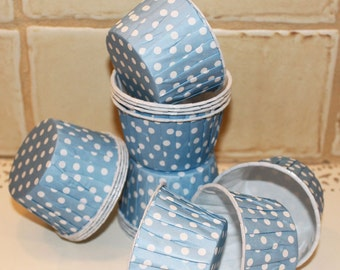 Cupcake Liners, 20 Cupcake Cups, Blue Polka Dot, Wedding Candy Cups, Baby Shower Cupcake Cups, Nut Cups, Paper Cup, Muffin Cup Baking Supply