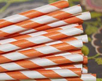 Paper Straws, 25 Really Orange Striped Paper Straws, Orange Paper Straws, Paper Party Straws, Striped Straws, Birthday straws, Made In USA