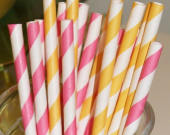 Paper Straws, 25 Pink Lemonade Party Paper Straws, Striped Straws, Pink Paper Straw, Yellow Paper Straw, Drink Straws, Lemonade Stand  Party