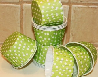 Candy Nuts Cups, 20 Cupcake Baking Cups LIME GREEN DOTS  - Birthday, Wedding, Baby Shower, Ice Cream Cup, Dessert
