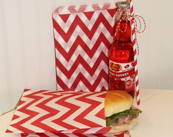 Paper Bags, 20 Red Chevron Sandwich Bags, Red Paper Bag, Chevron Bags, Candy Bag, Favor Bags, Wedding Candy Bag, Hamburger Bag, Sandwich Bag