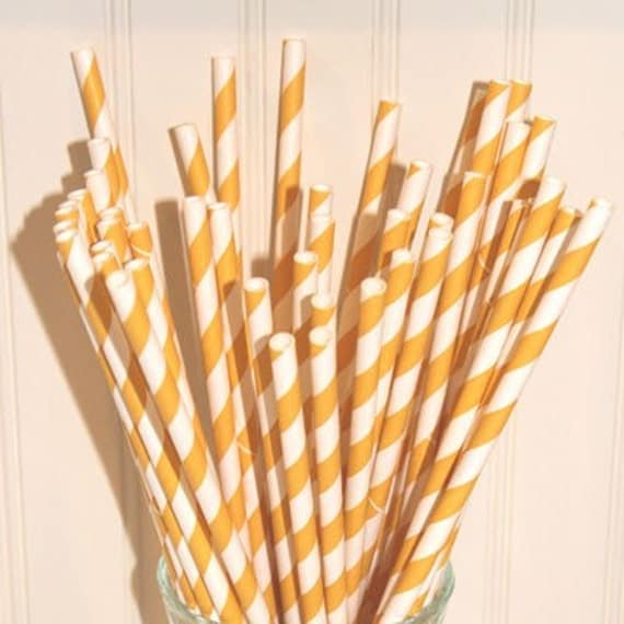 Yellow Striped Paper Straws Paper Straws 100 Yellow