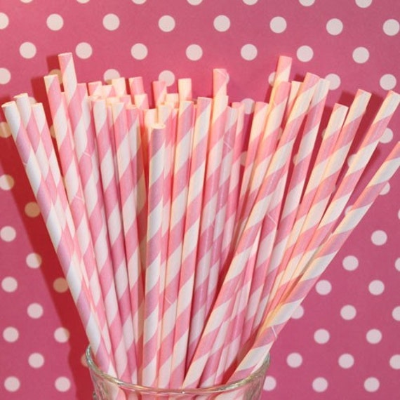 Paper Straws .. 150  Pink Striped with DIY Printable Flags