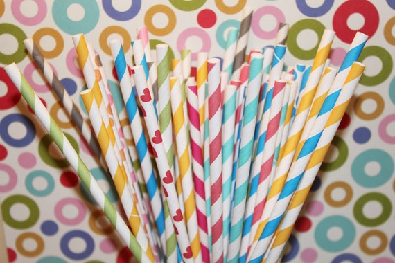 400 Paper Straws - YOU PICK your COLORS and Design - with Free printable Flag Pennants - Drinking Straws - Made In Usa