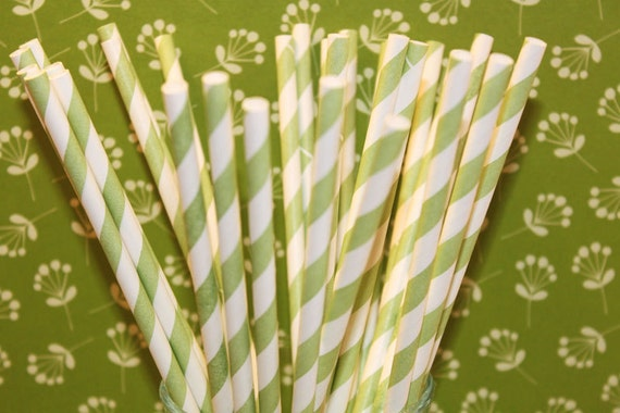 Paper Straws - 100 Green Striped Paper Straws with DIY Printable Flags,  Wedding, Baby Shower,MADE In USA