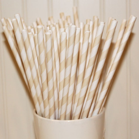 100 IVORY CREAM Striped Paper Straws with Blank Paper Flags - Wedding - Dinner Parties - Birthday - Made In USA