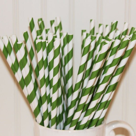 50 KELLY GREEN Striped Paper Straws with DIY Printable Paper Flags - Party -  Wedding - Birthday - Made In Usa