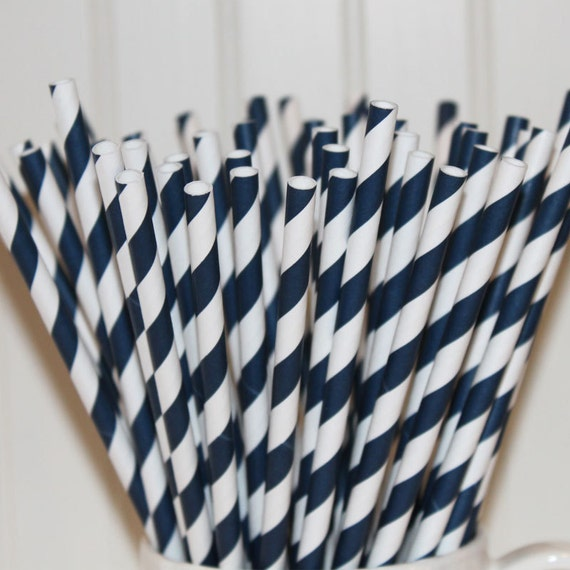 100 NAVY Striped Paper Straws with Printable Paper Flags - Wedding - Dinner Parties - Birthday - Made In USA