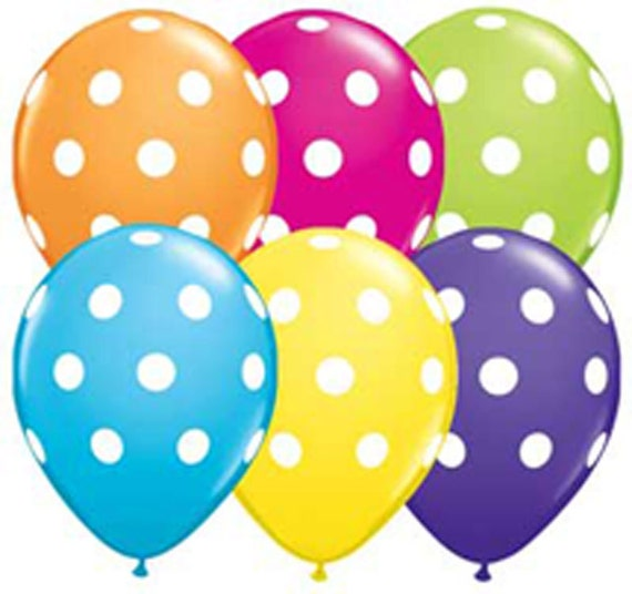 10 Polka Dot Balloons, PICK YOUR COLORS, Big Dot Party Favor Balloons with Printable Favor Tags
