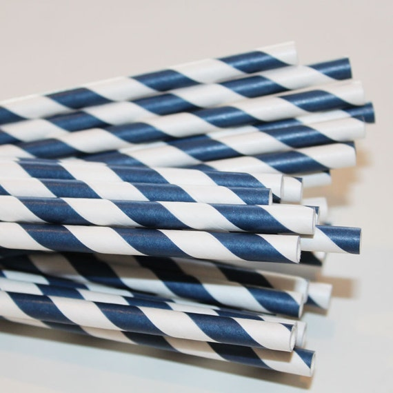 25 NAVY Striped Paper Straws with Printable Straw Flag Pennants - Wedding - Dinner Parties - Birthday - Made In USA