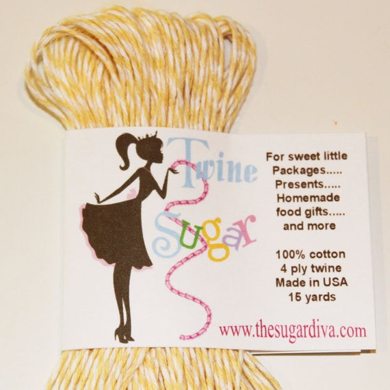 15 Yards Bakers Twine,  YELLOW Cotton 4 ply Twine - Packages Presents Homemade Food Gifts and Mail