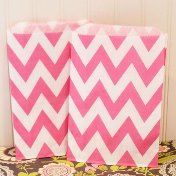 Paper Bag, 20 Pink Chevron Striped Favor Bags,Party, Wedding, Event, Favors, Baby Shower, Birthday, Girls, Wedding, Treat, Bags, Bakery
