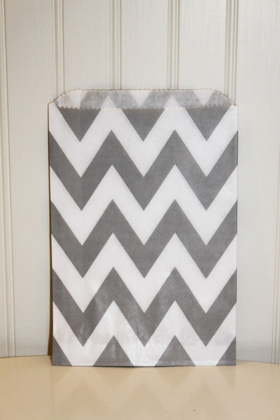 50 Chevron Striped Favor Bags, GREY Chevron Bags, Party, Wedding, Events, Favors, Bakery, Food