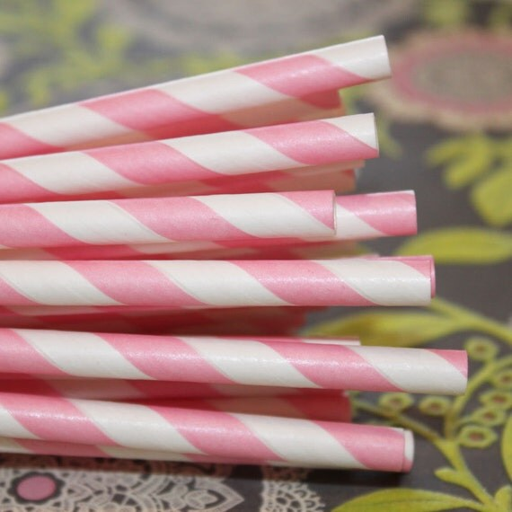 50 Paper Straws, PINK STRIPE Paper Straws with Diy Flags,Birthday, Party Straws, Baby Shower, Weddings, Girl Parties