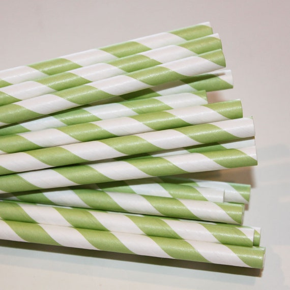 Paper Straws - 100 Green Striped Paper Straws with DIY Flags,  Wedding, Baby Shower