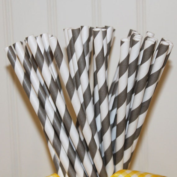 Paper Straws, 150 Pewter Grey Striped Paper Straws with Blank Straw Flags - Wedding, Graduation, Party, Made In USA