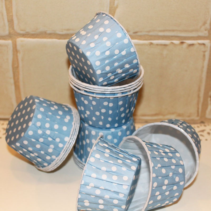 Mini Paper Candy Cup : Polka dot candy nut cups powder blue cupcake