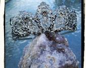 Black Swan Gunmetal Antique Finish Filigree Tiara Crown