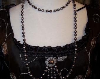 Black on Black Tudor Renaissance Medieval Bodice Pearls Necklace