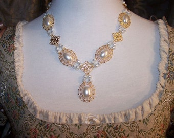 Desire Pearl Tudor Necklace Renaissance Medieval Costume Game of Thrones Jewelry