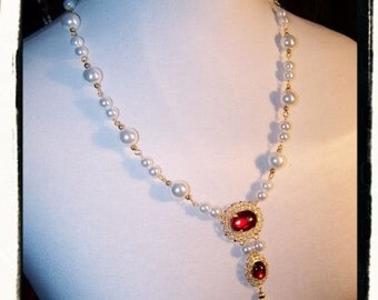 Ruby Red Lady in Waiting Tudor Necklace and Earring Set Renaissance Medieval Costume Jewelry