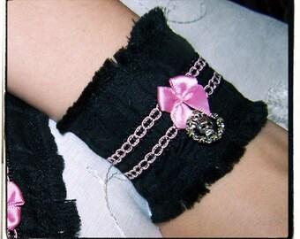 Pink Love Victorian Vamp Pleated Wrist Cuffs