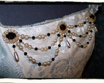 Onyx and Gold Banners Light Gold Pearl Bodice Tudor Renaissance Costume Jewelry