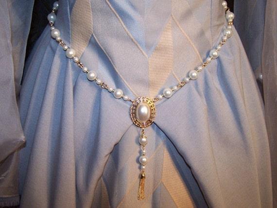 Queen Regent Pearl Girdle Belt  in Gold Tudor Renaissance Medieval Costume