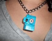 Kitsch Blue Snapshot Camera Necklace