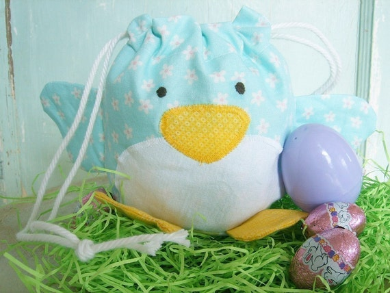 SALE - PDF Sewing Pattern - Spring Chick Drawstring Treat Bag